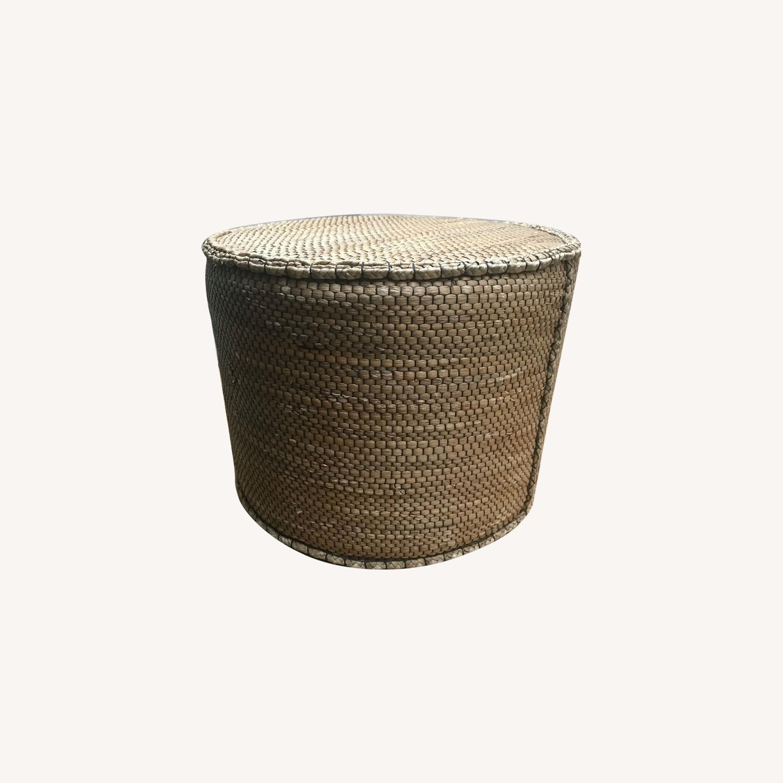 Crate & Barrel Wicker Ottoman - image-0