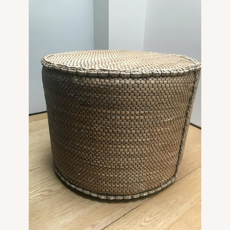 Crate & Barrel Wicker Ottoman - image-1