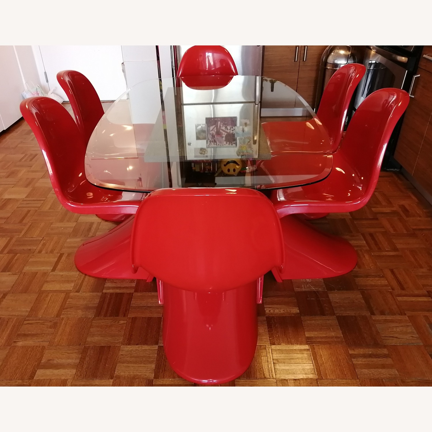 6 Red Acrylic Panton Chairs - image-2