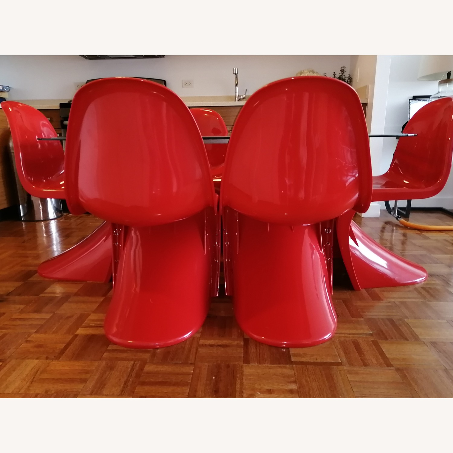 6 Red Acrylic Panton Chairs - image-3