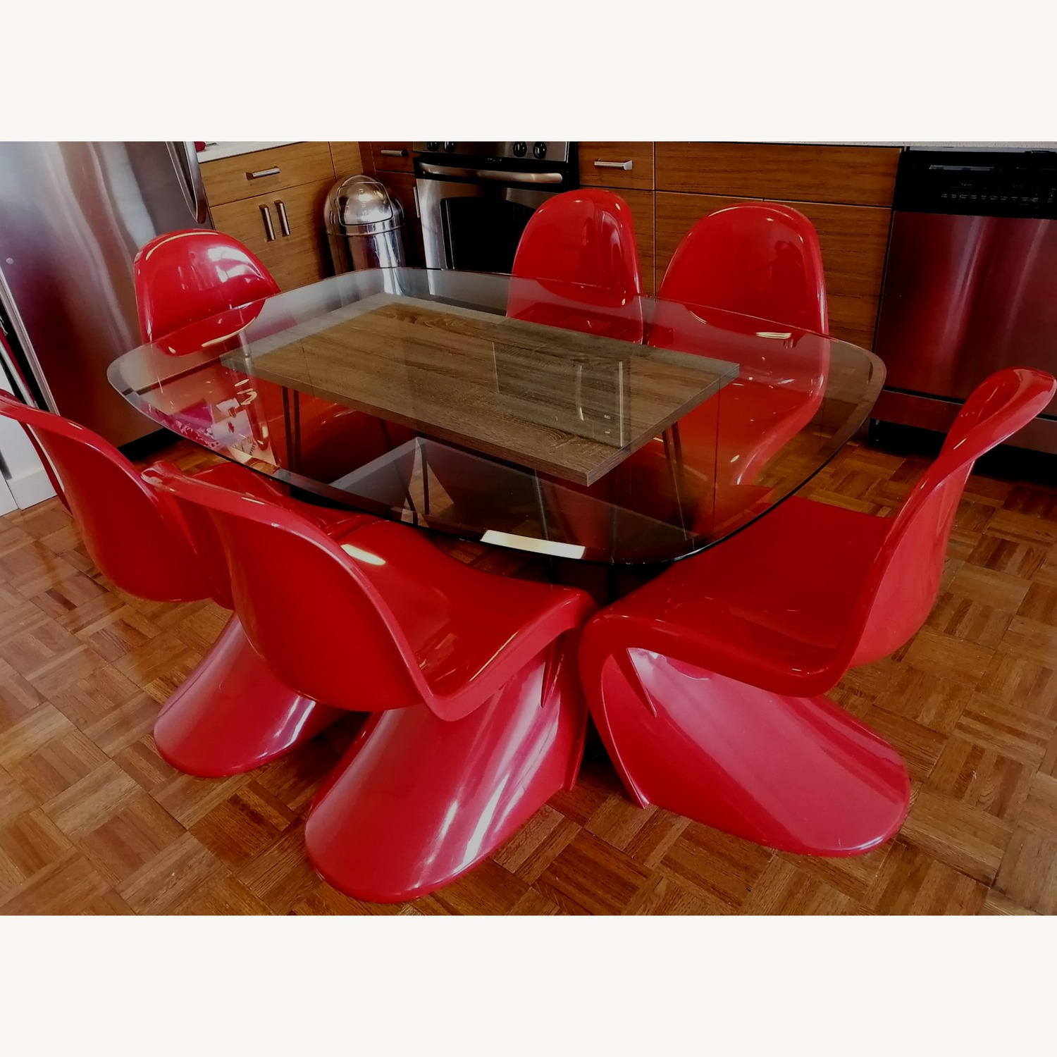 6 Red Acrylic Panton Chairs - image-1