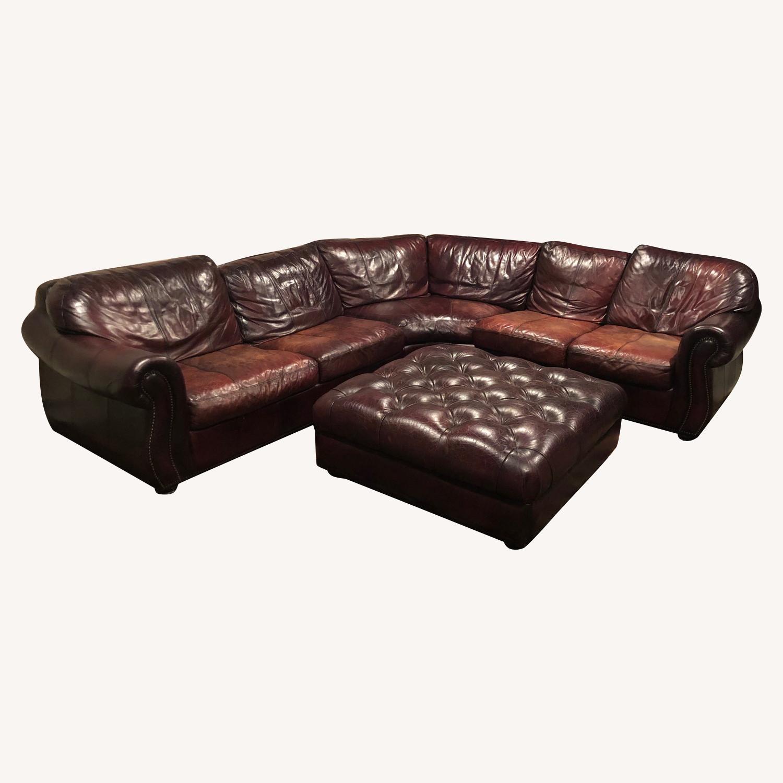 Bari Leather Burgundy Leather Sectional Sofa & Ottoman - image-0