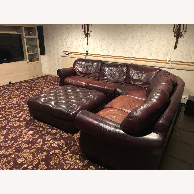 Bari Leather Burgundy Leather Sectional Sofa & Ottoman - image-2