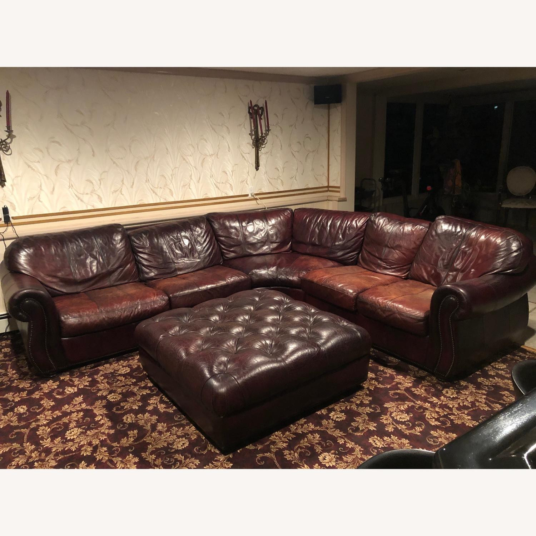 Bari Leather Burgundy Leather Sectional Sofa & Ottoman - image-1