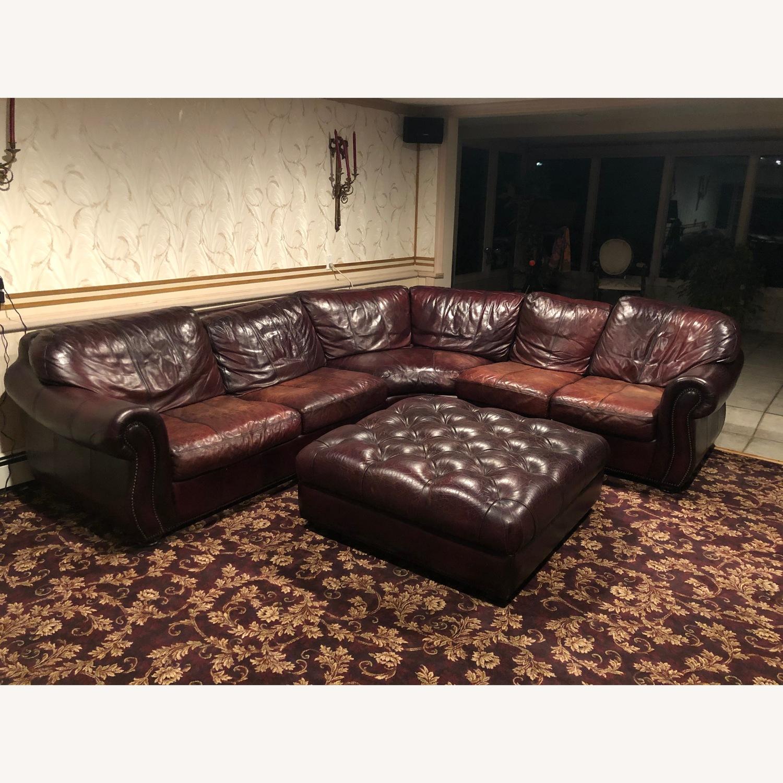 Bari Leather Burgundy Leather Sectional Sofa & Ottoman - image-3