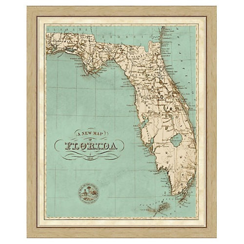 One Kings Lane Vintage Framed Map of Florida - image-0
