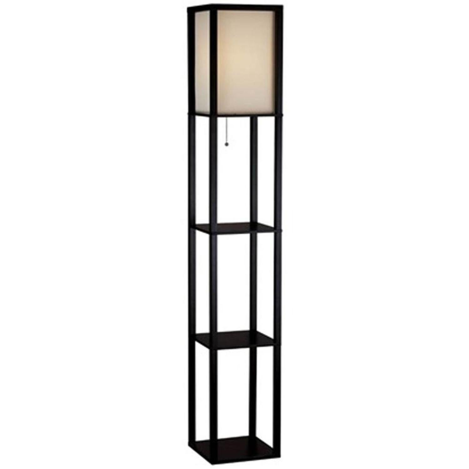 Home Depot Black Shelf Floor Lamp w/ Ivory Fabric Shade