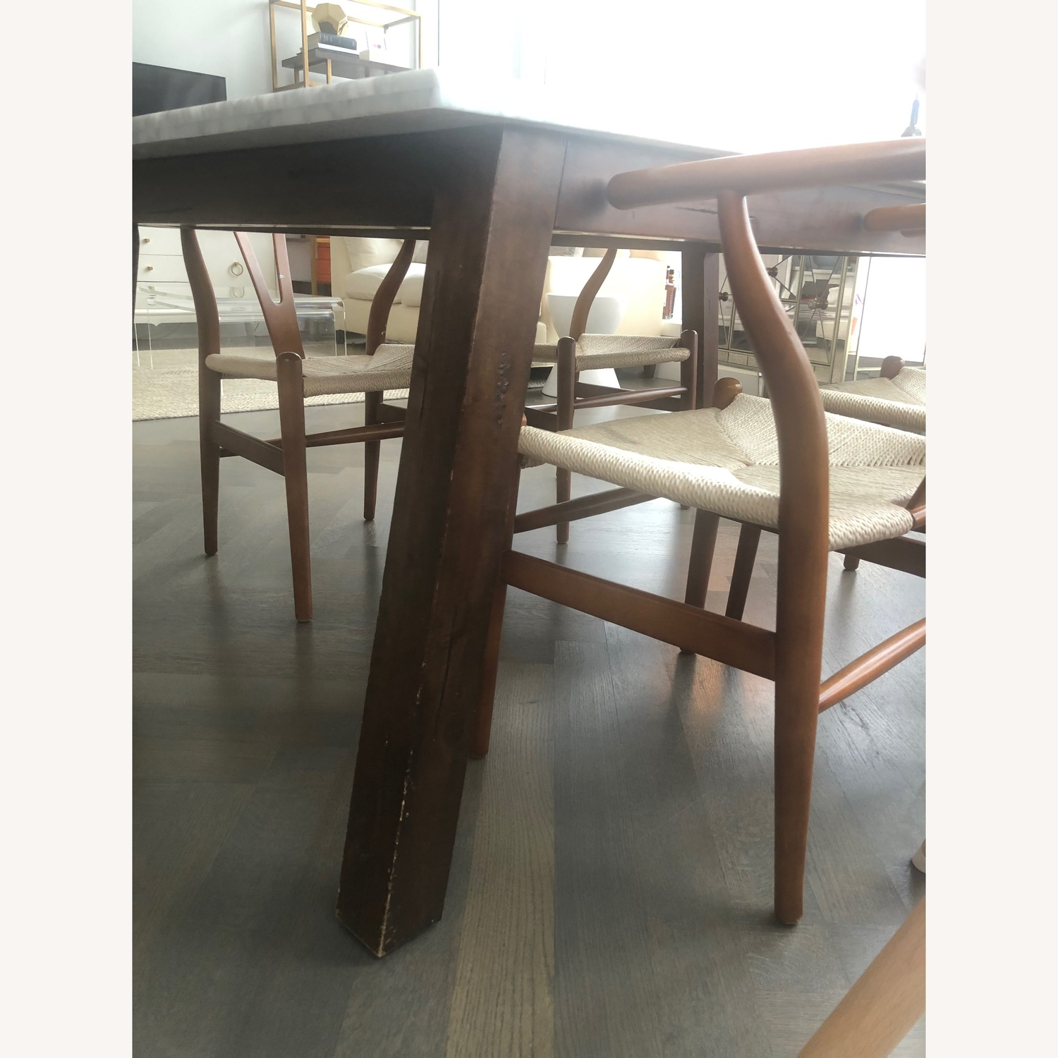 West Elm Marble & Wood Rectangular Dining Table - image-4