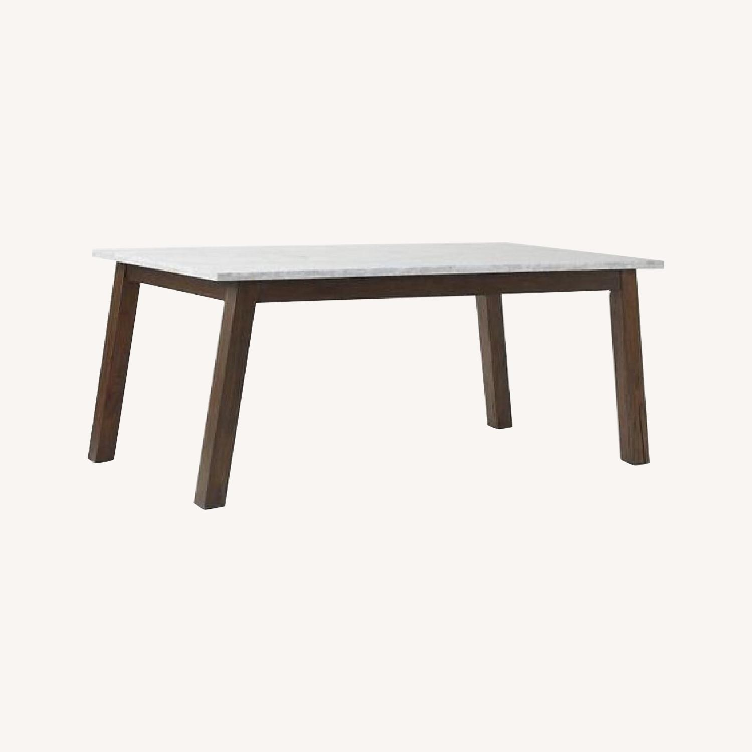 West Elm Marble & Wood Rectangular Dining Table - image-0