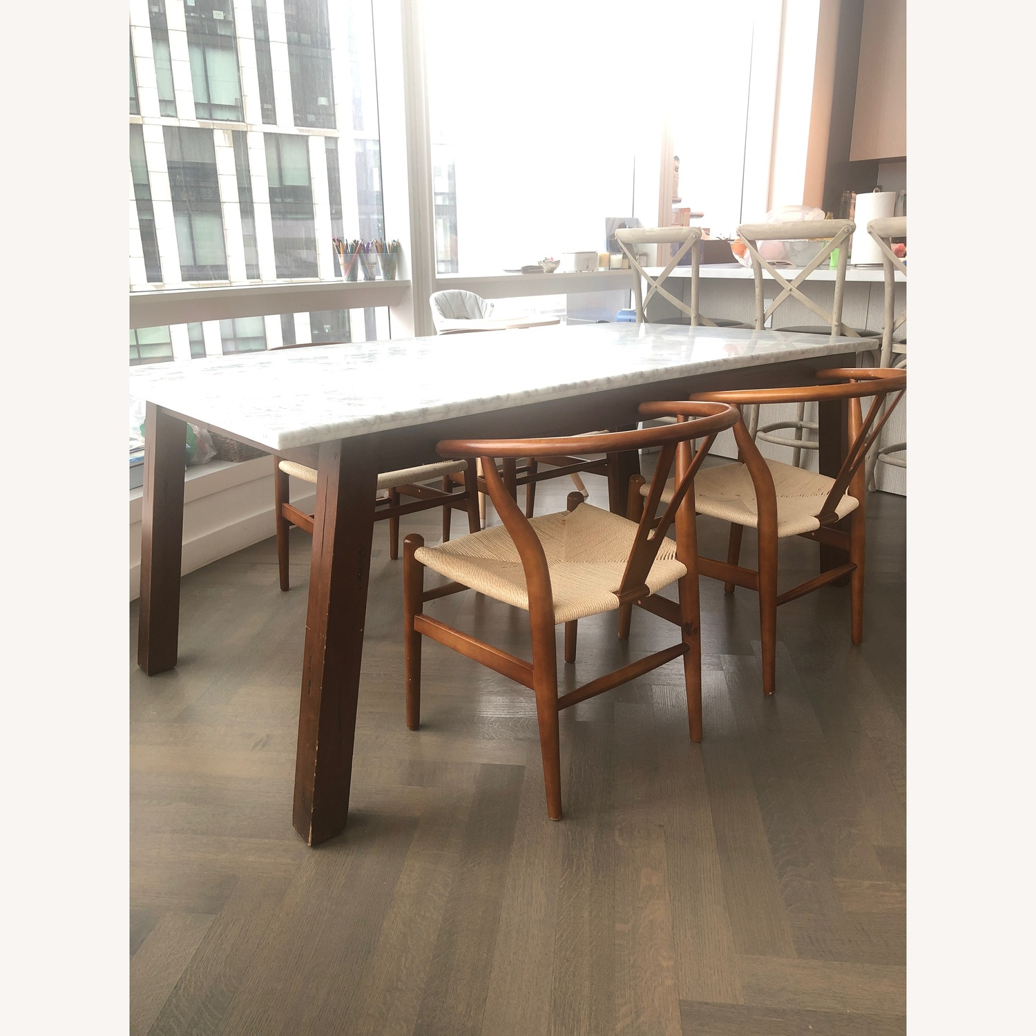 West Elm Marble & Wood Rectangular Dining Table - image-1