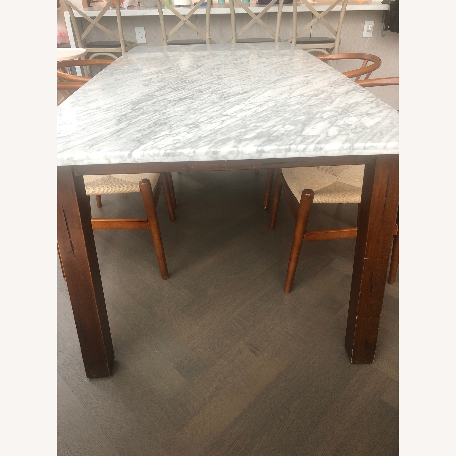 West Elm Marble & Wood Rectangular Dining Table - image-2