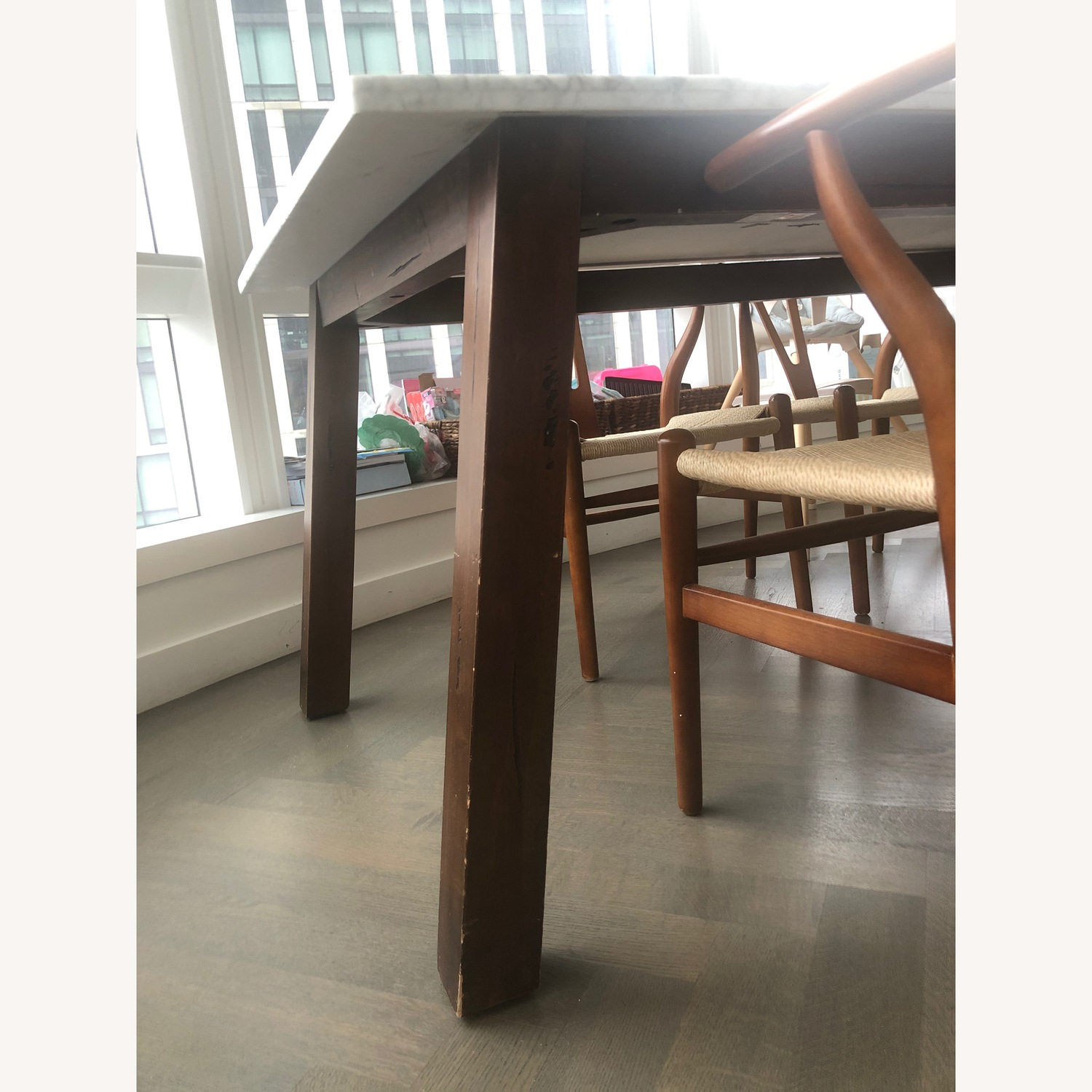 West Elm Marble & Wood Rectangular Dining Table - image-3
