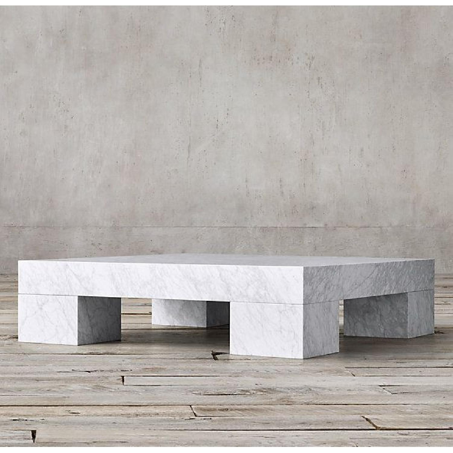 Restoration Hardware Marble Parsons Coffee Table - image-10