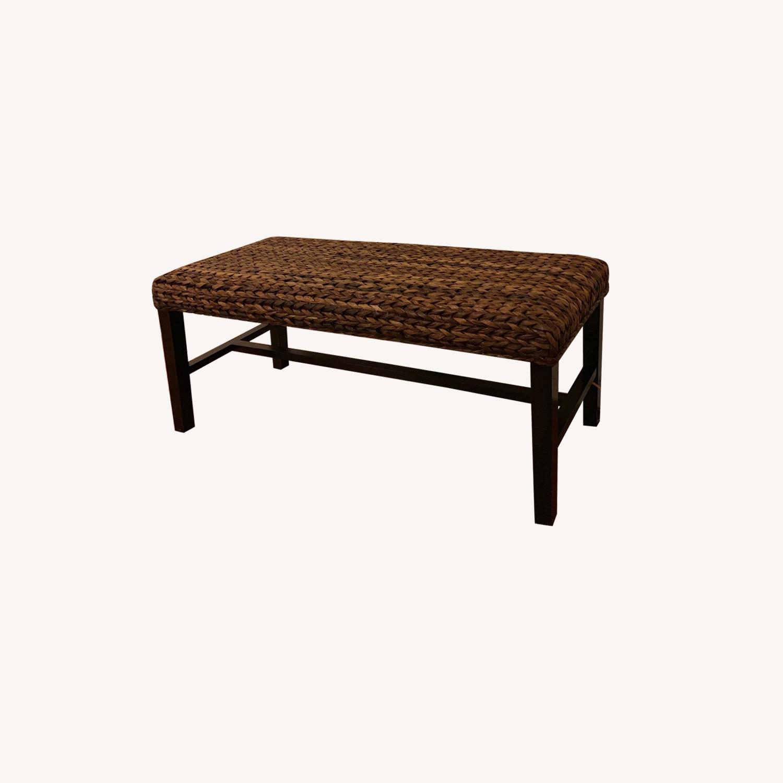 Wicker espresso wood bench