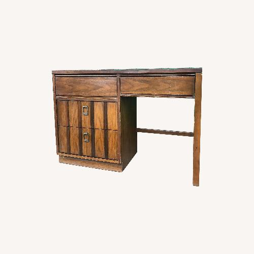 Used Mid Century Modern 3 Drawer Walnut Writing Desk for sale on AptDeco