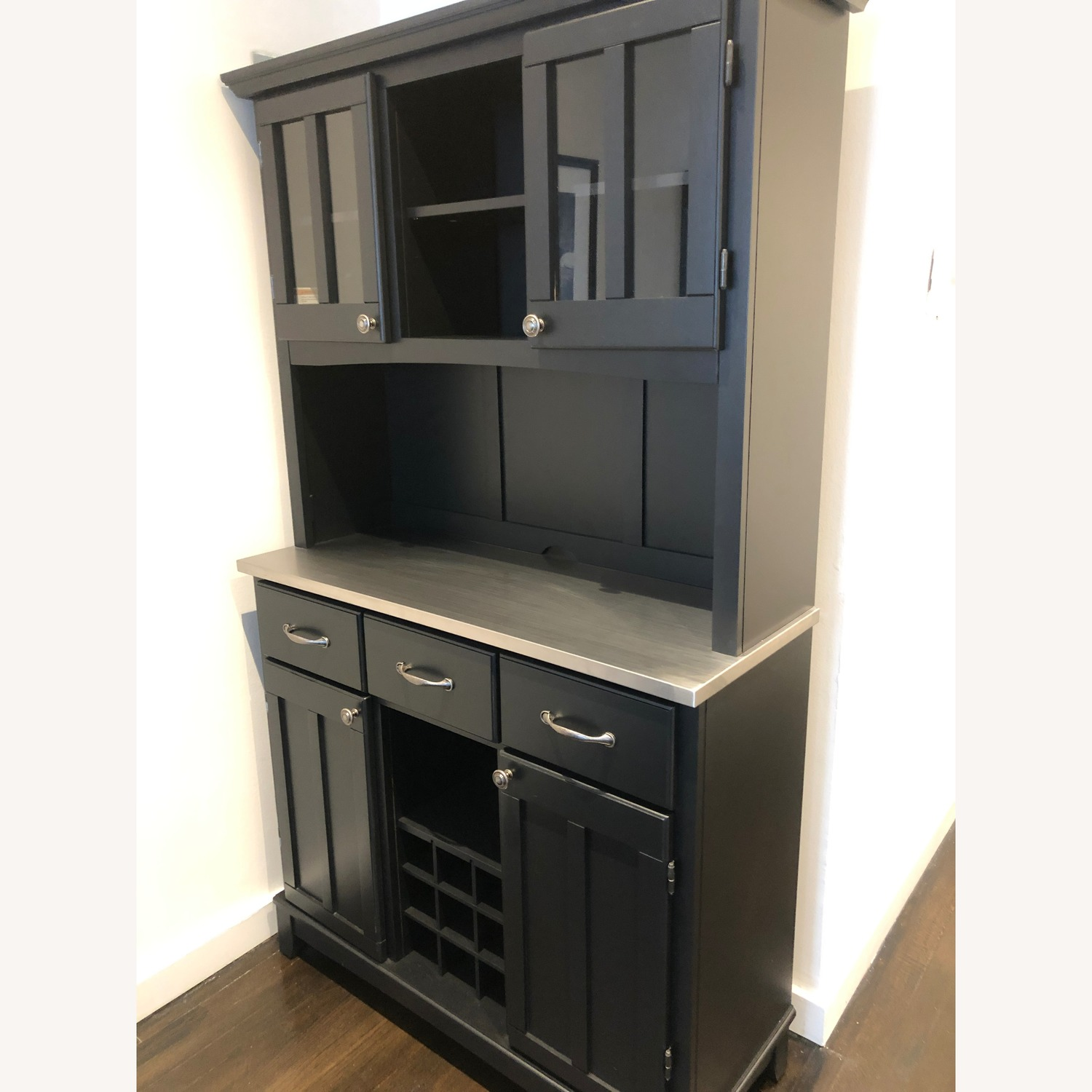 Picture of: Black Metal Top Buffet Bar W Hutch Aptdeco