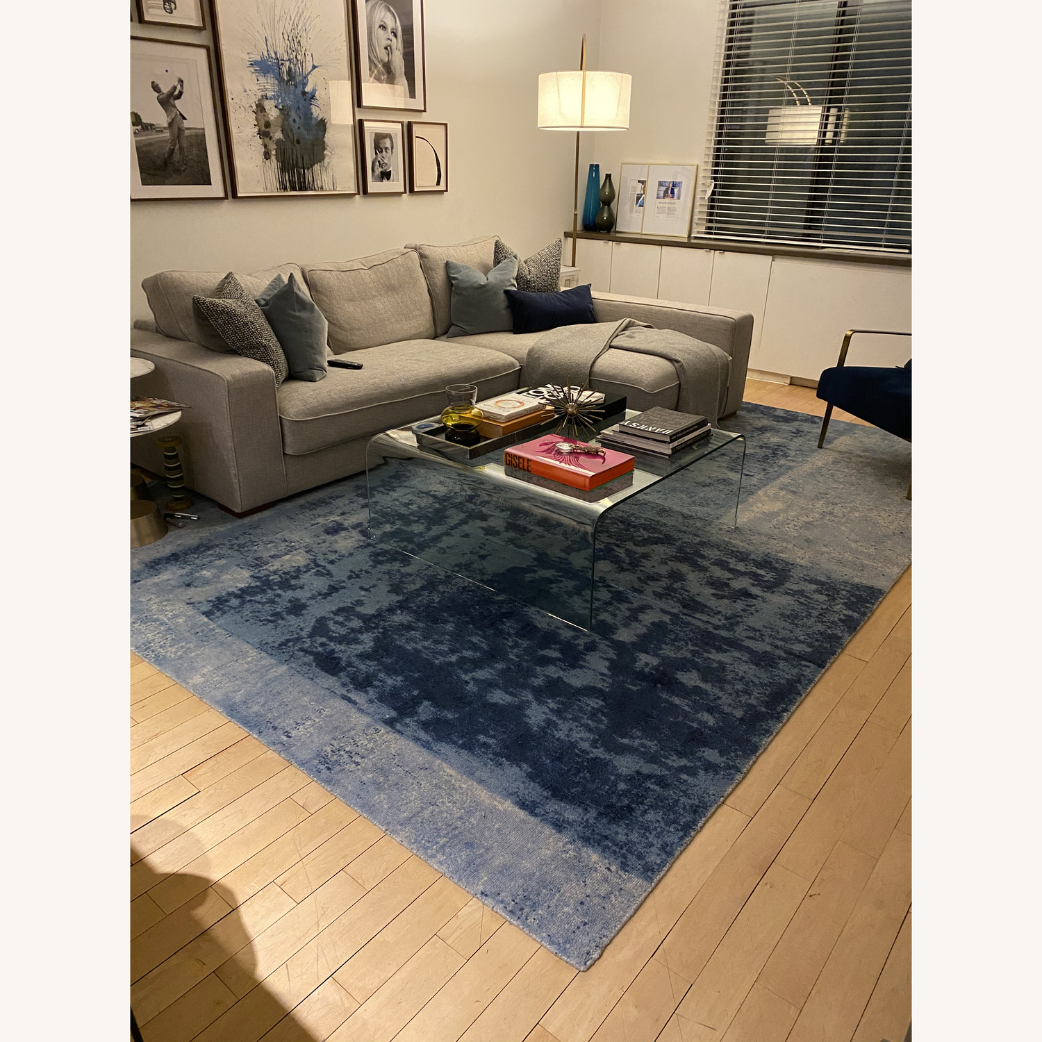 West Elm Blue Area Rug - image-1