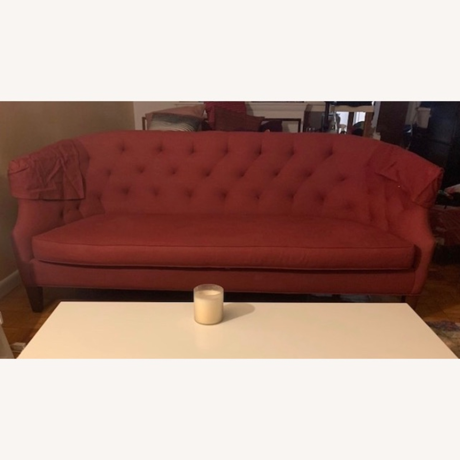 Crate & Barrel Azure Brick Red Sofa
