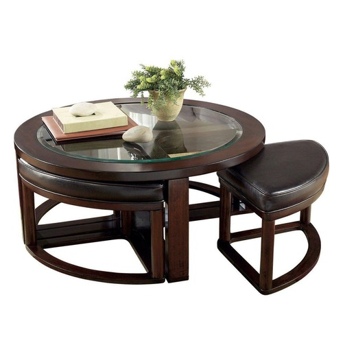 Used Jennifer Convertibles Coffee Table w/ 4 Stools for sale on AptDeco