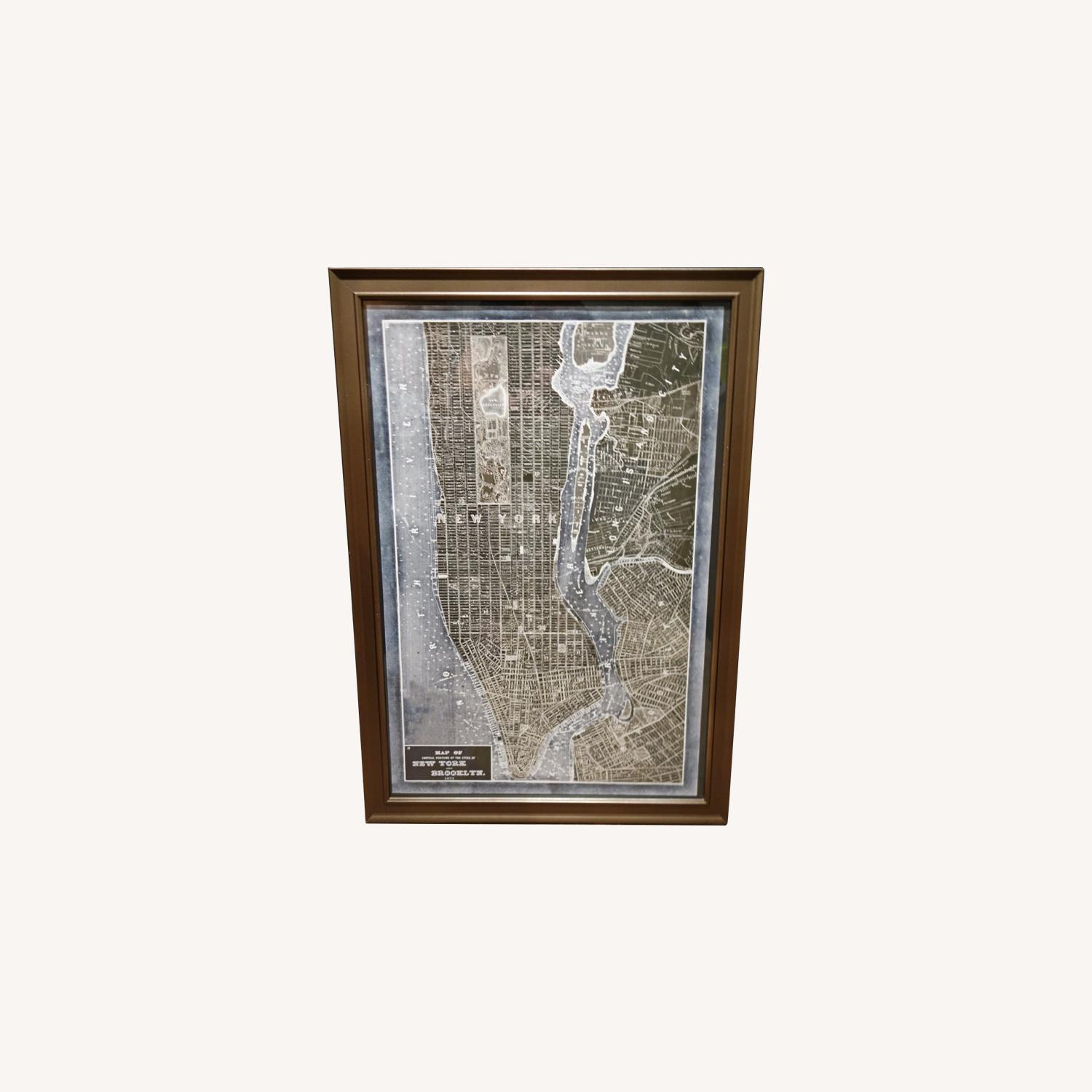 19th Century New York Map Print in Gray/Bronze Frame - image-0