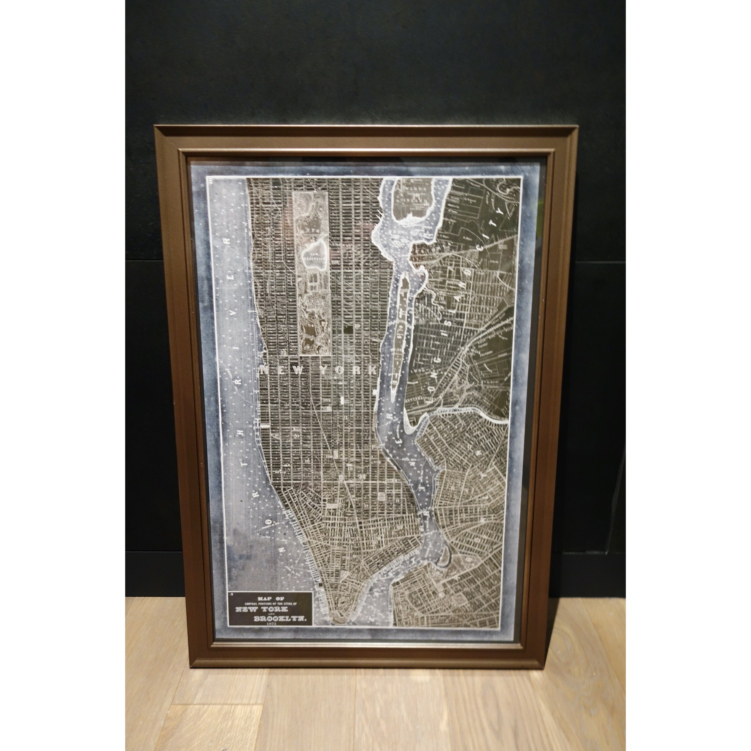 19th Century New York Map Print in Gray/Bronze Frame - image-1