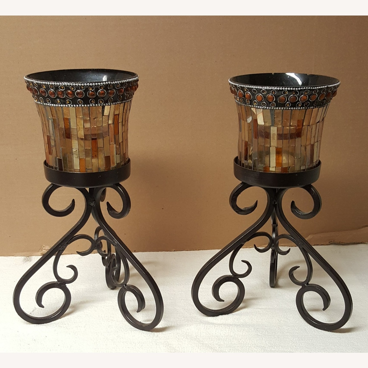 Mosaic Glass Dining-Table Candle Holders - image-1
