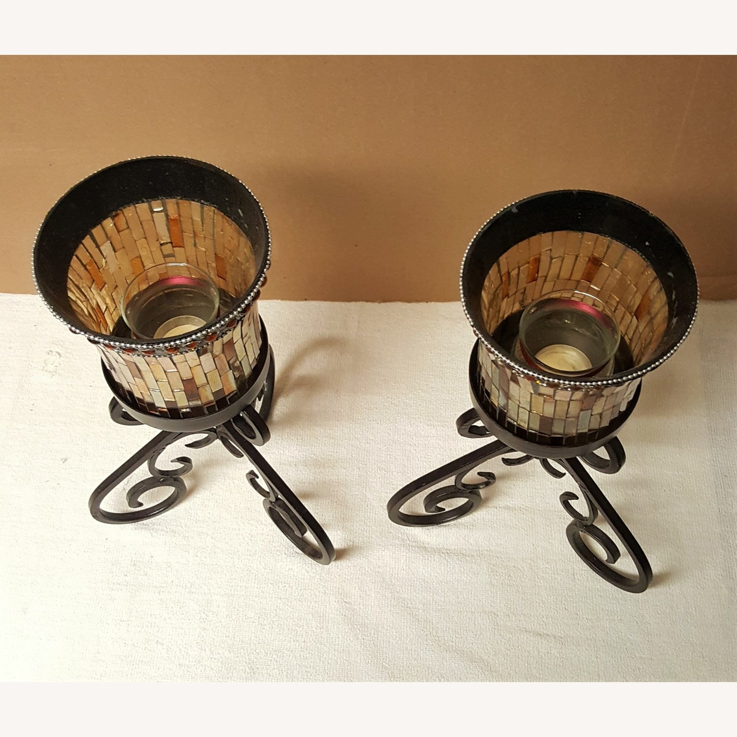 Mosaic Glass Dining-Table Candle Holders