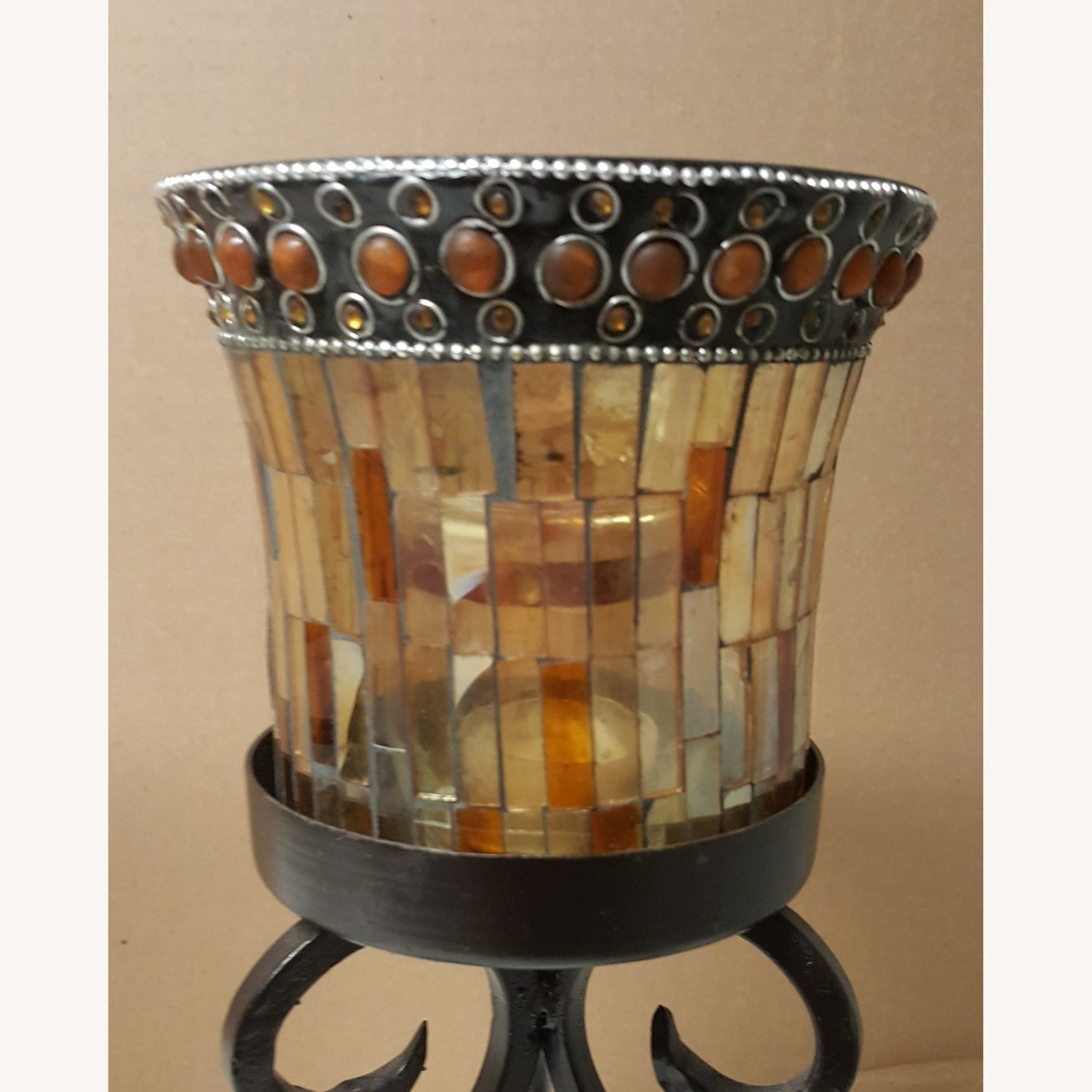Mosaic Glass Dining-Table Candle Holders - image-3