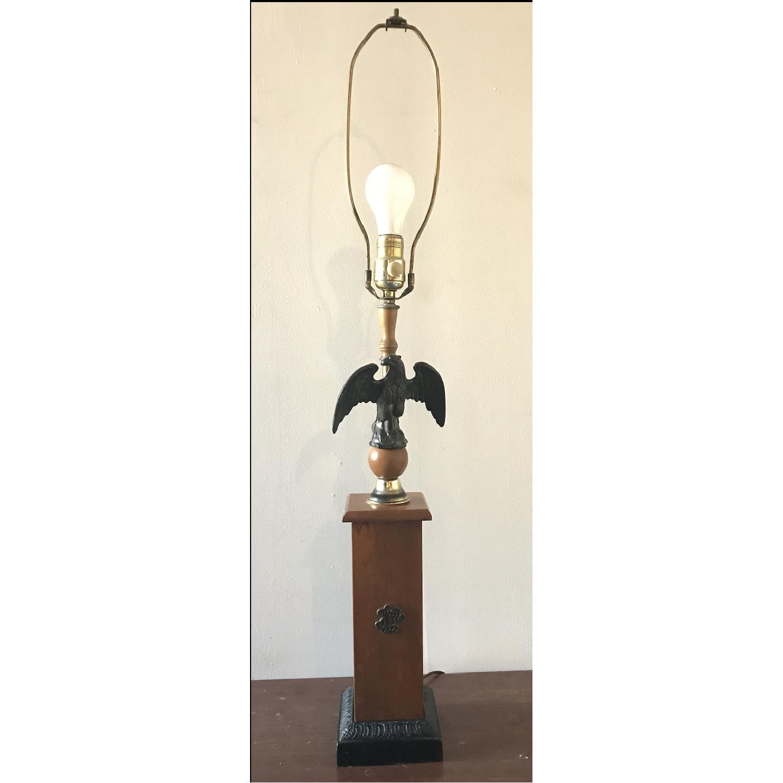 Vintage Eagle Wooden Lamp With Barrel Shade - image-10