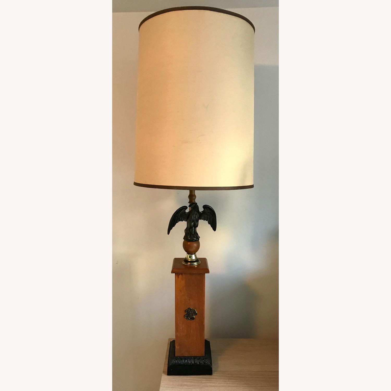 Vintage Eagle Wooden Lamp With Barrel Shade - image-1