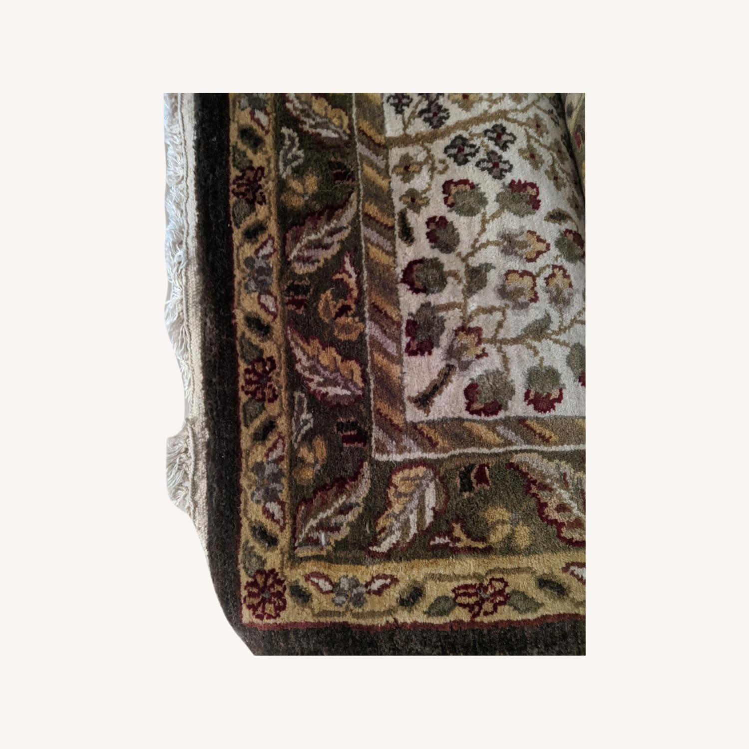 Hande Mug Rug from India with Green Patterns
