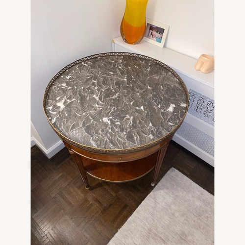 Used Vintage Wood Side Table with Marble Top for sale on AptDeco