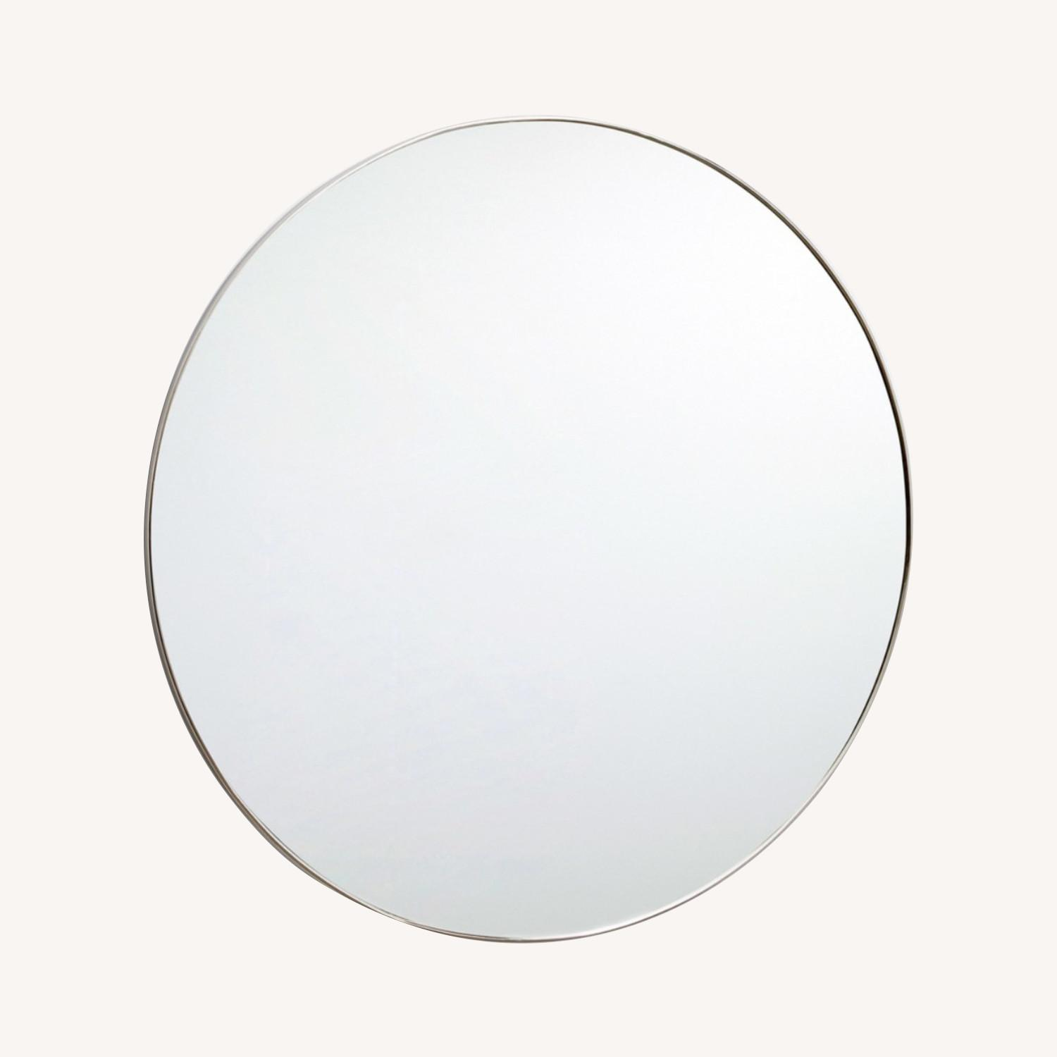 "36"" Round Polished Nickel Framed Mirror - image-0"
