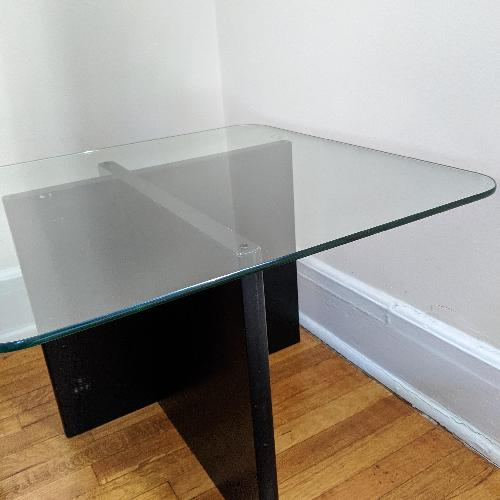 Used Glass Side Table with Wood Base for sale on AptDeco