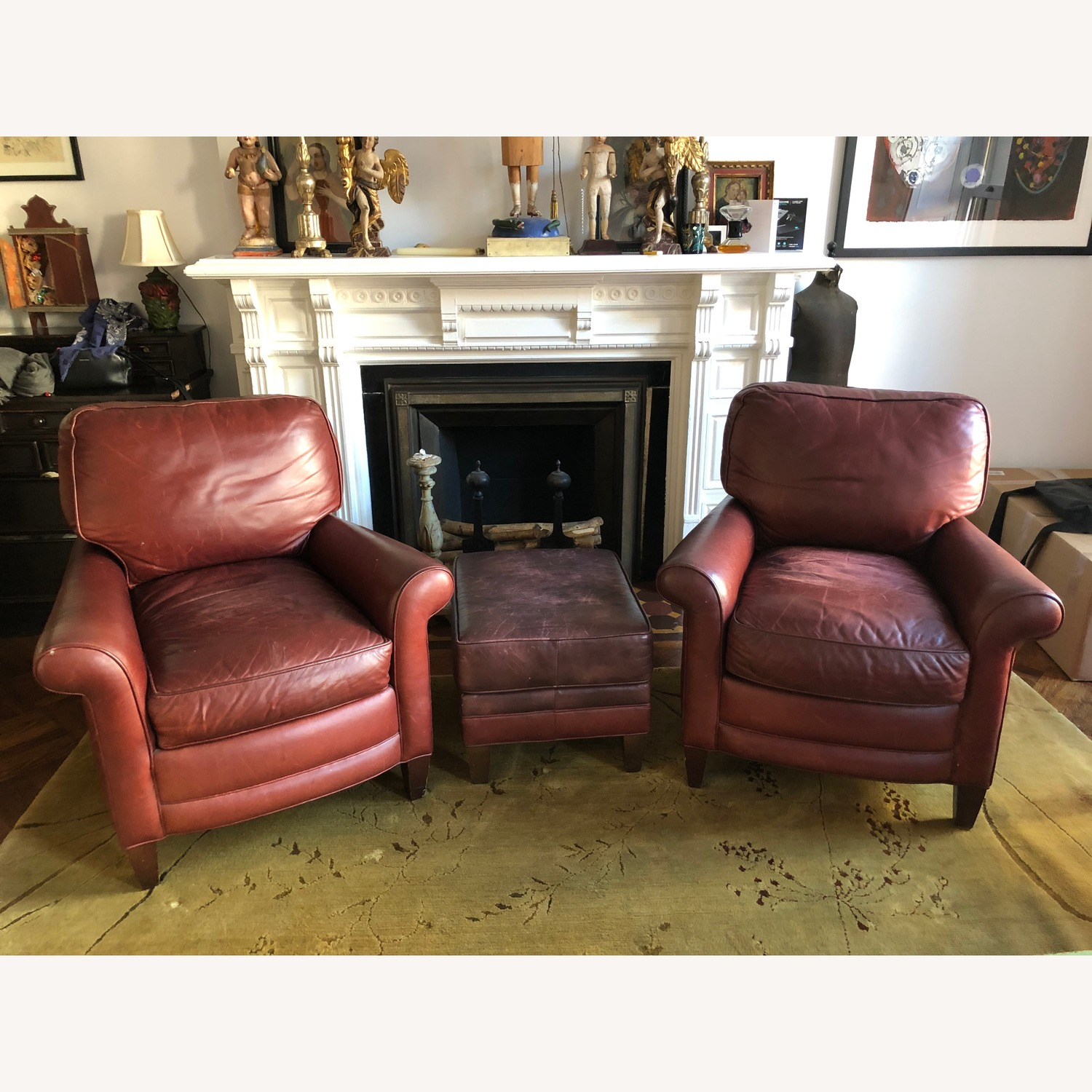 Classic Leather Armchairs and Ottoman