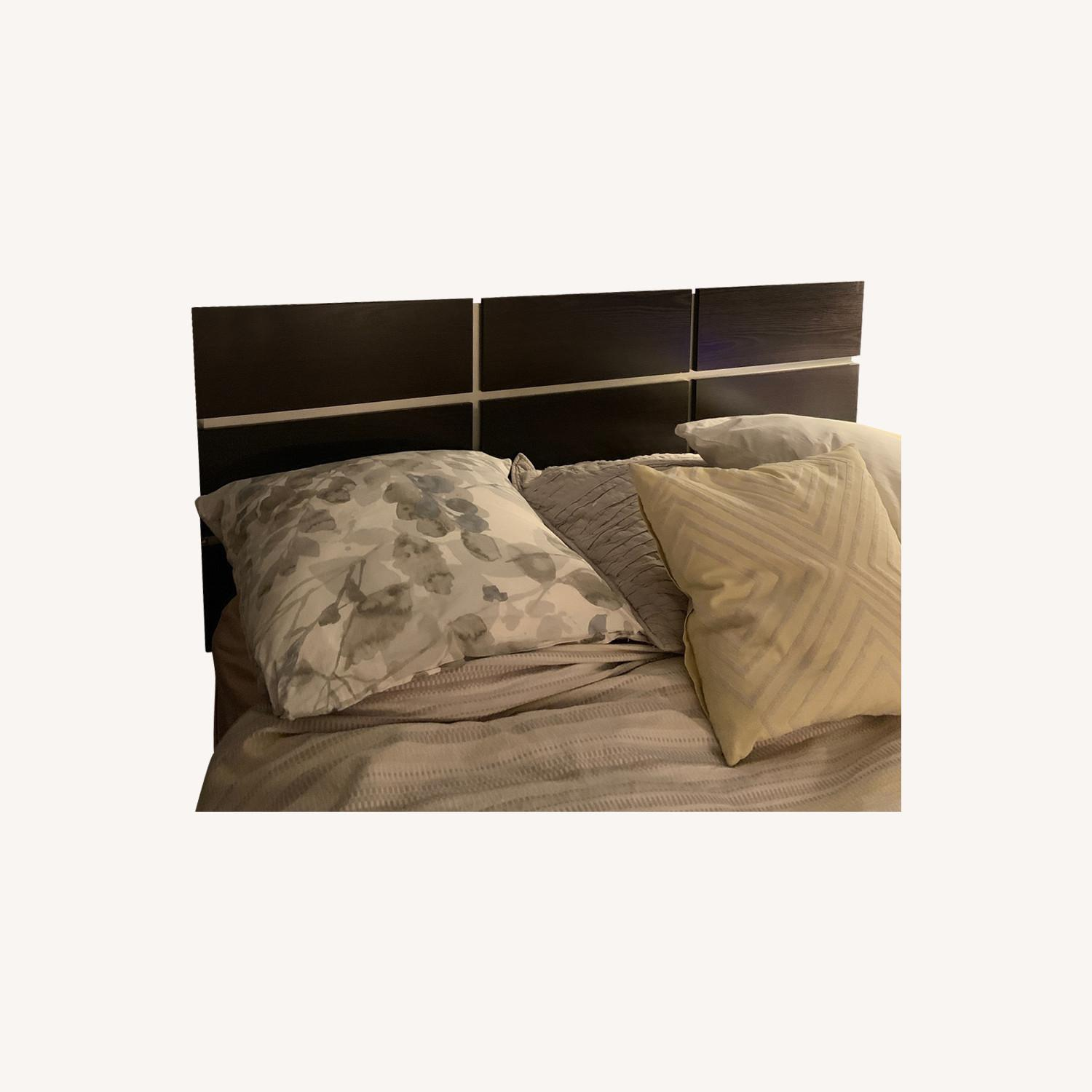 Streamlined wood headboard and queen frame - image-0