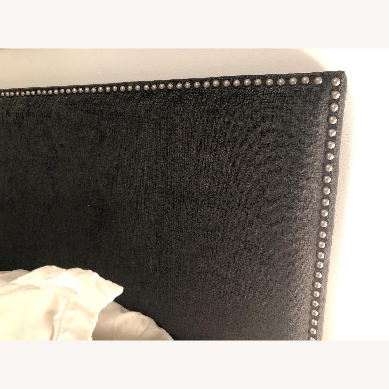 Charcoal Nail-Head Fabric Headboard - image-2