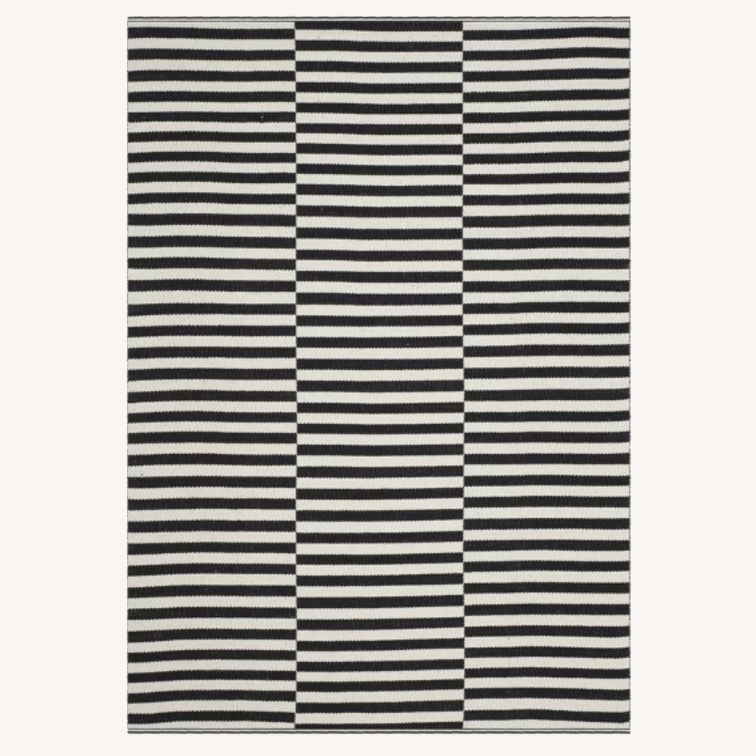 Black and White Striped rug - image-0