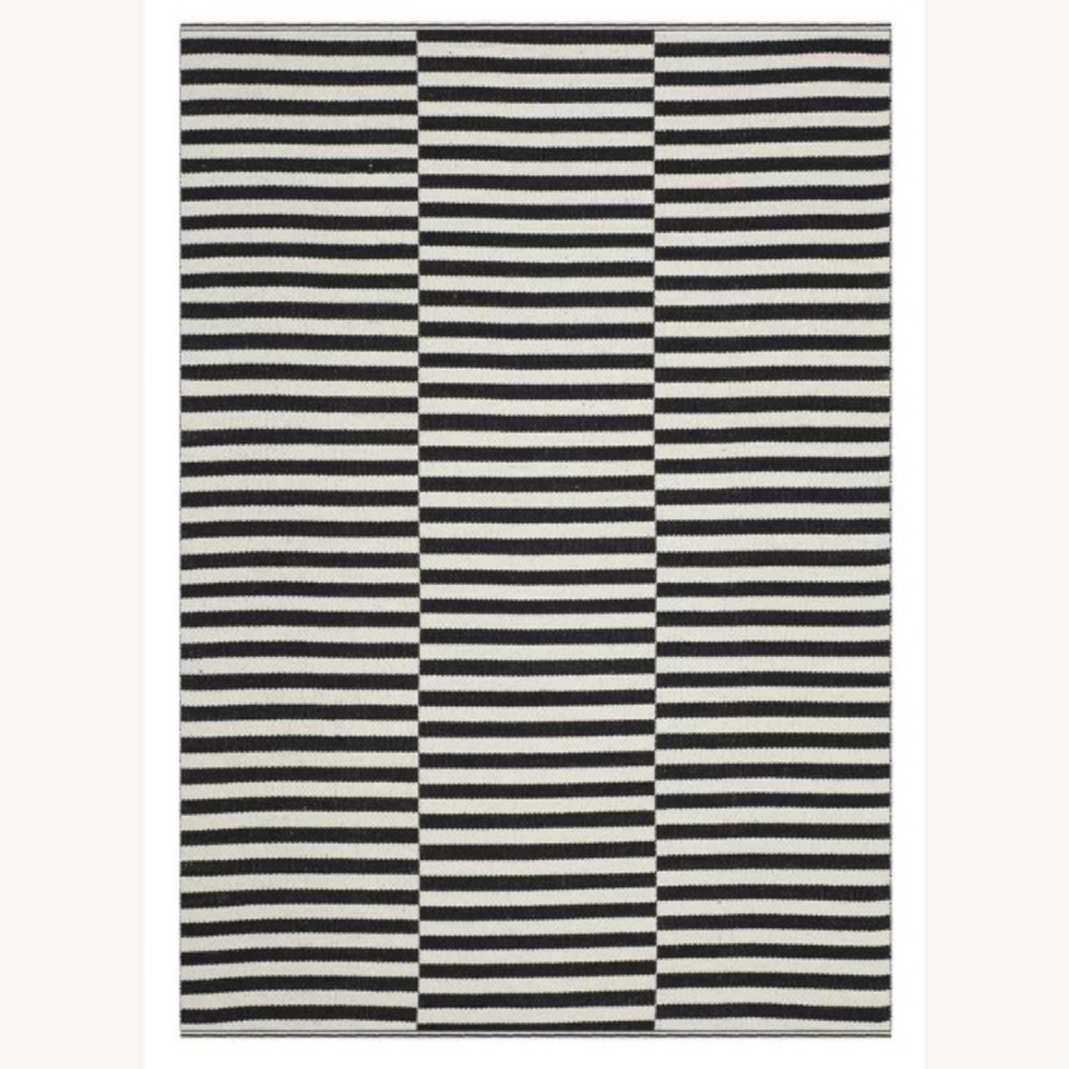 Black and White Striped rug - image-1