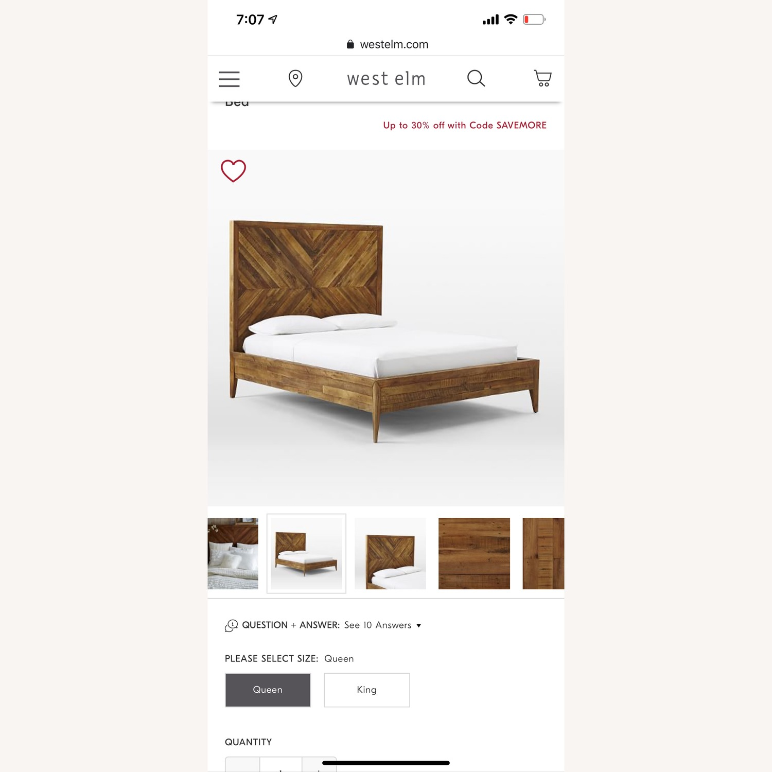 West Elm Alexa Reclaimed Wood Bed - image-2