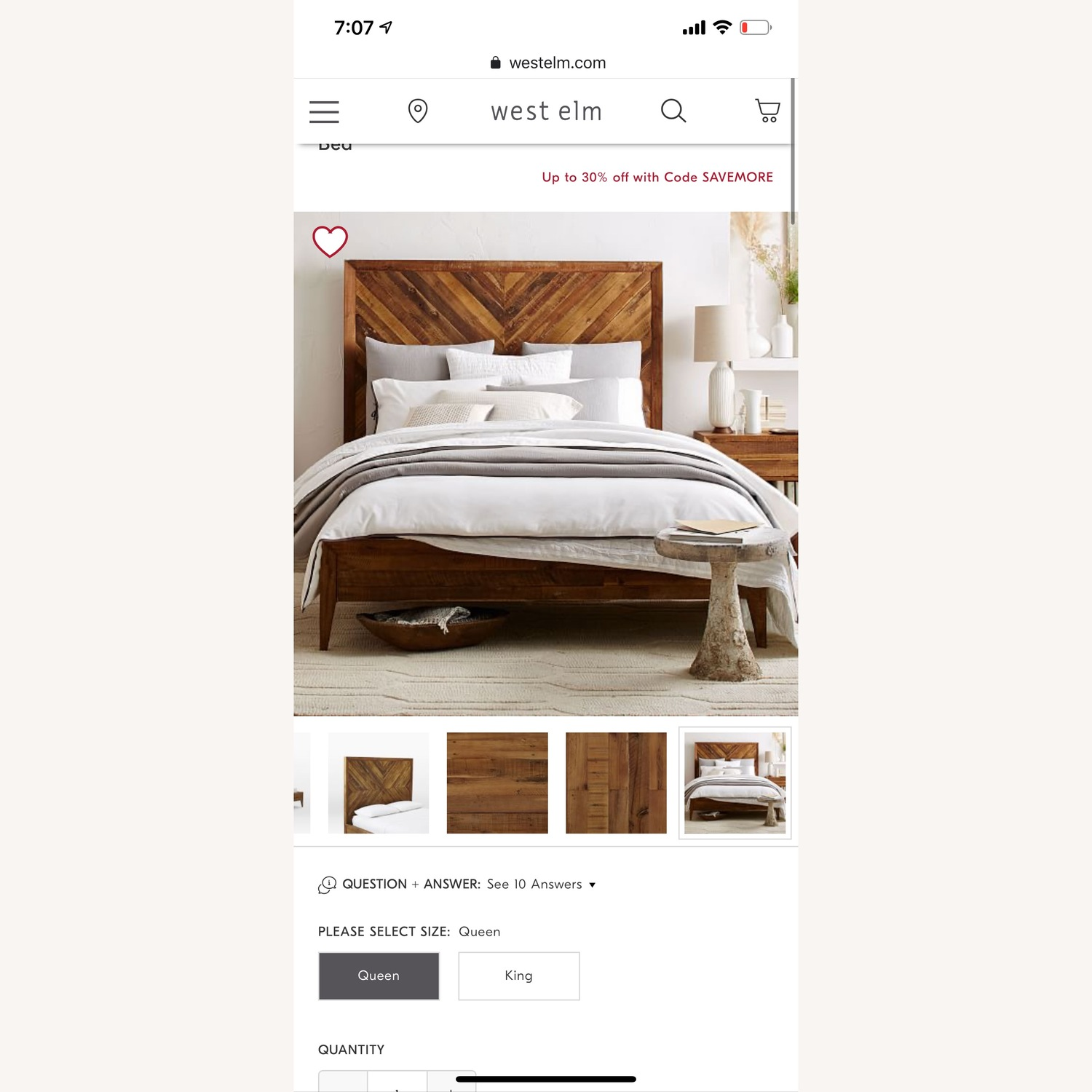 West Elm Alexa Reclaimed Wood Bed - image-1
