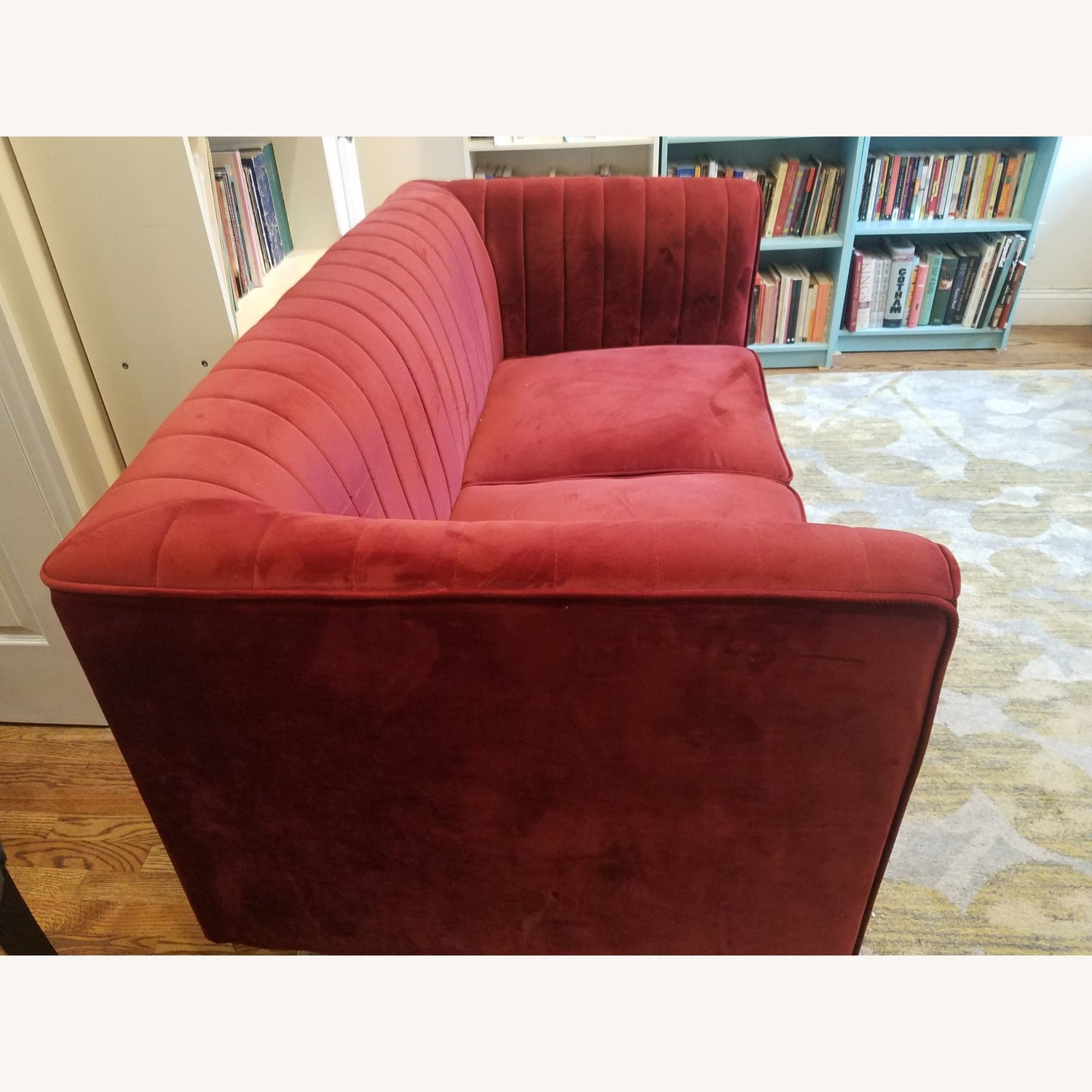 Two-seat red sofa/loveseat - image-2