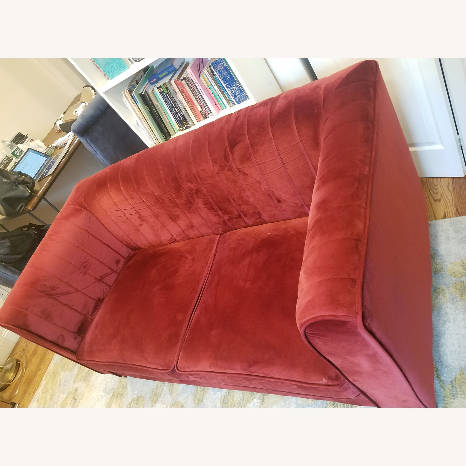 Two-seat red sofa/loveseat