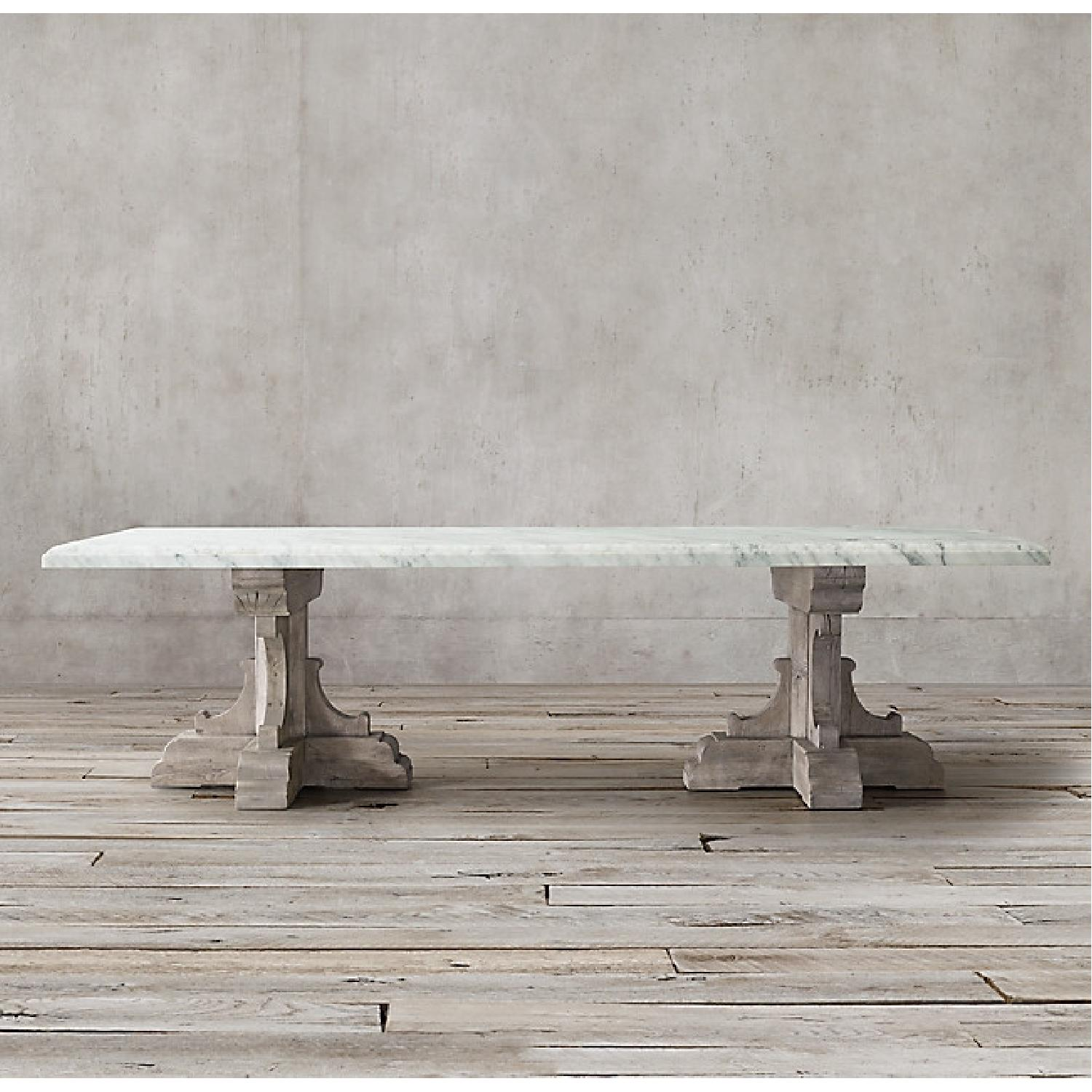 Restoration Hardware Oak & Marble Rect Dining Table - image-5