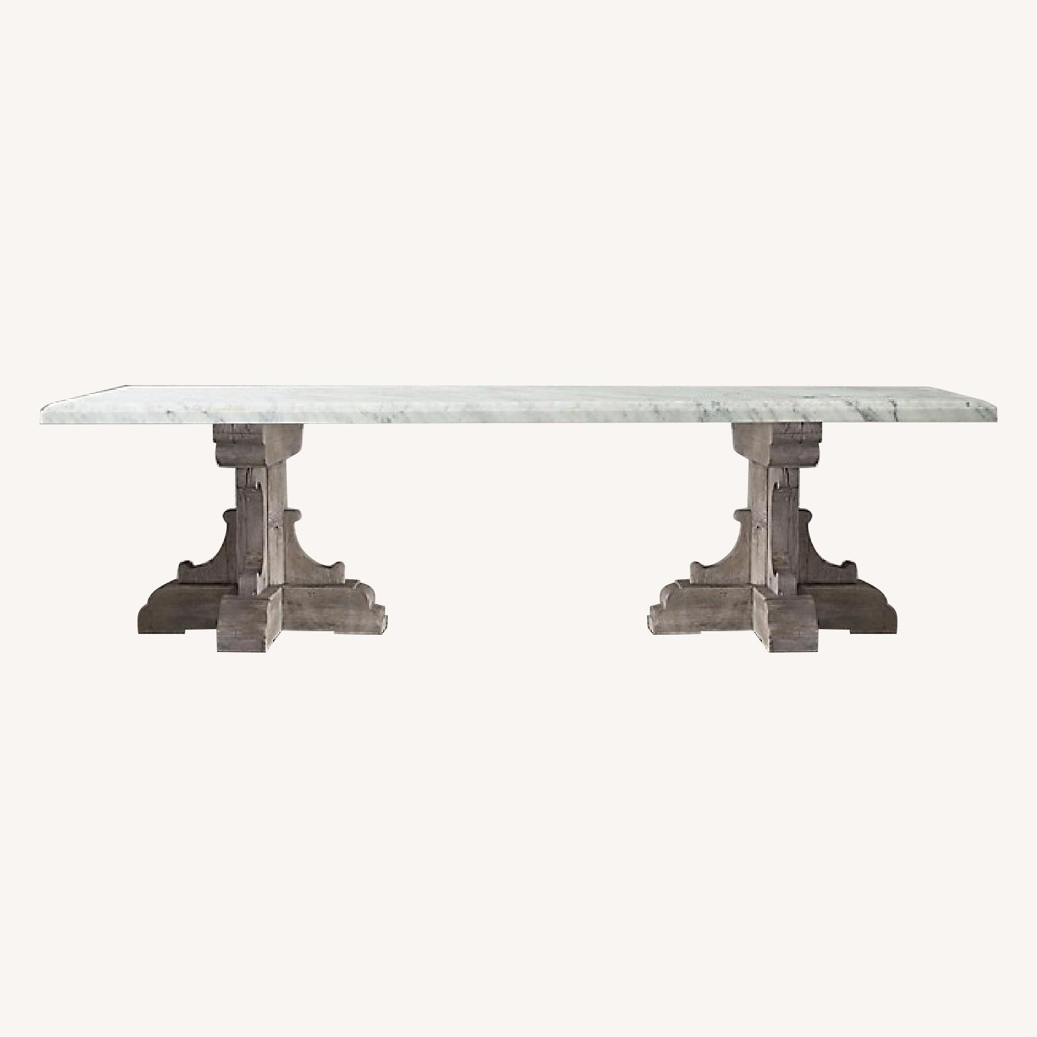 Restoration Hardware Oak & Marble Rect Dining Table - image-0