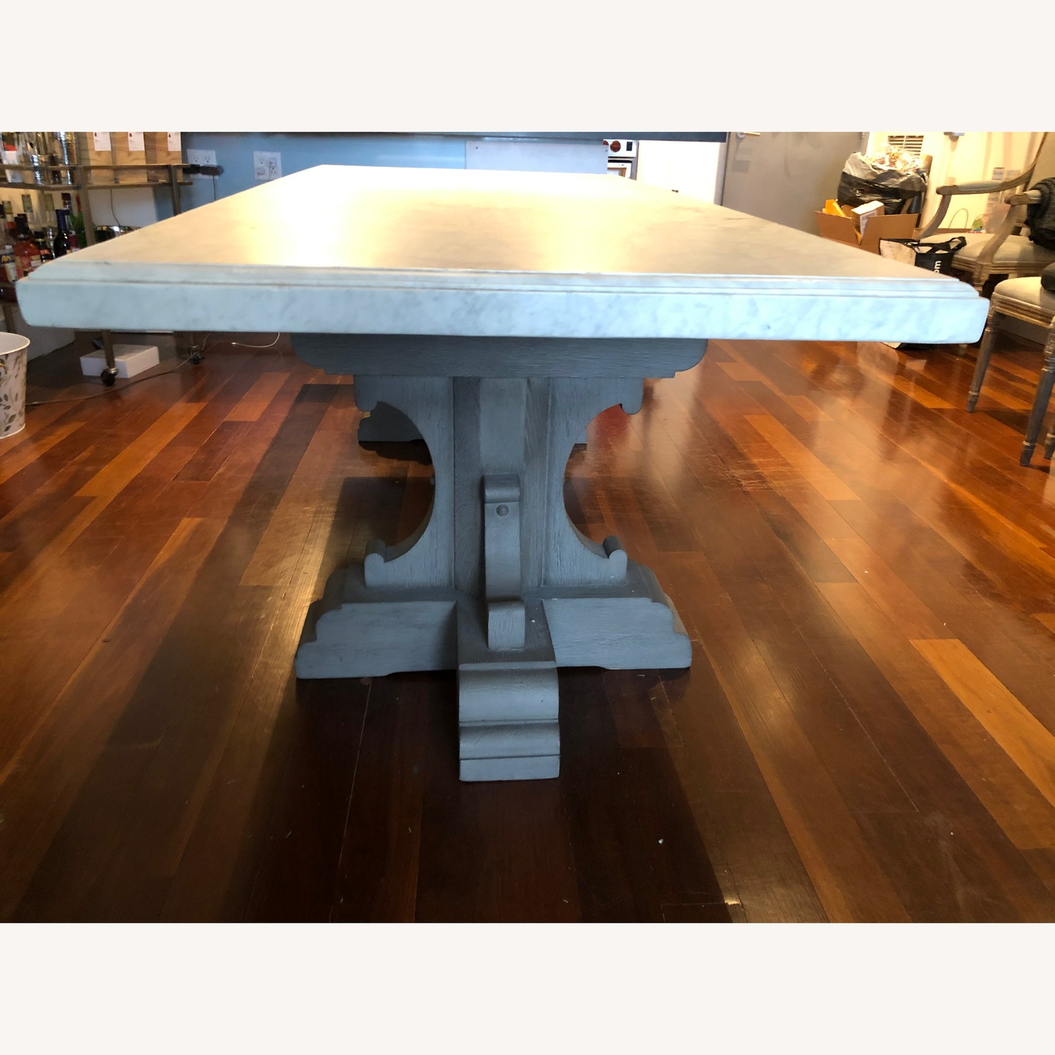 Restoration Hardware Oak & Marble Rect Dining Table - image-2