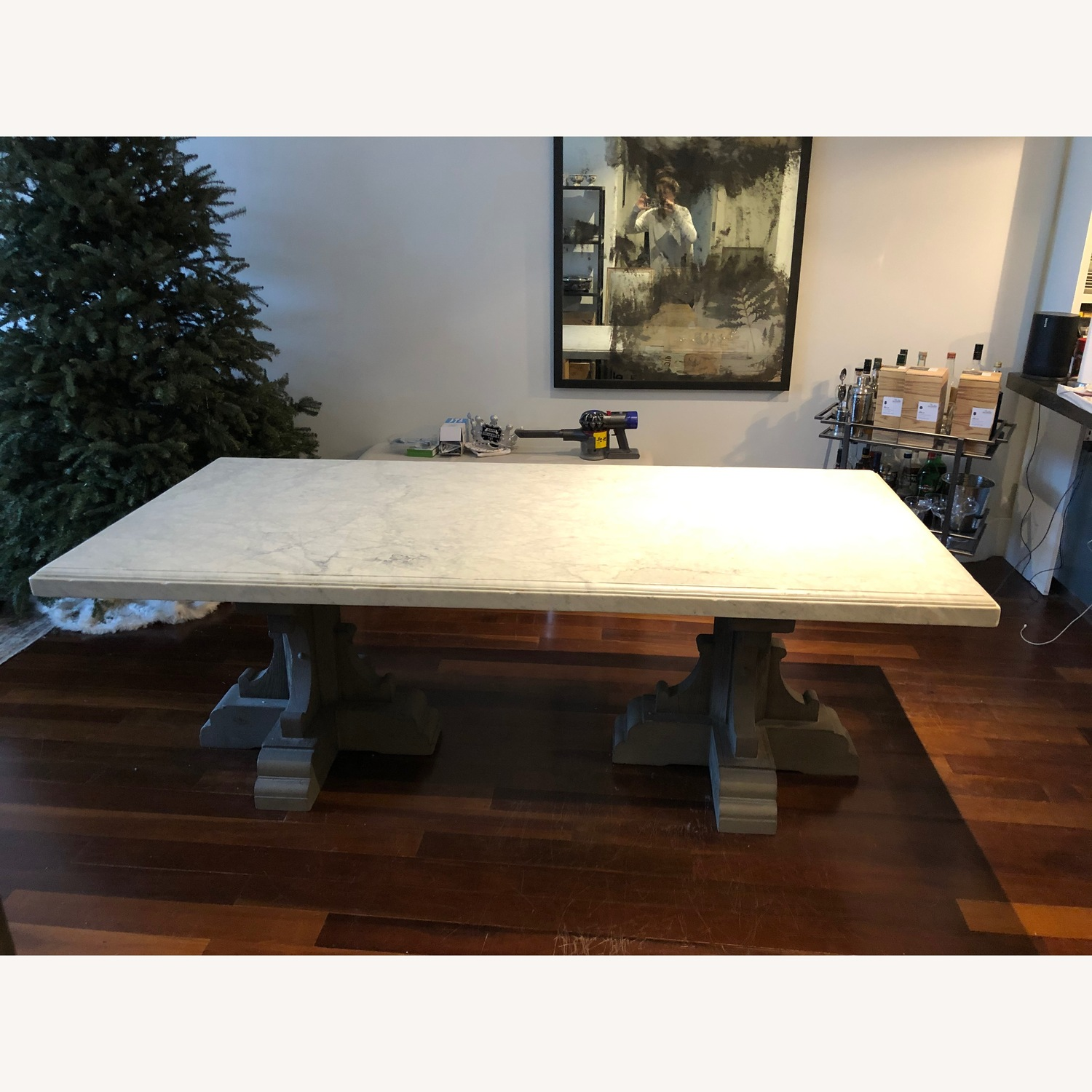 Restoration Hardware Oak & Marble Rect Dining Table - image-1