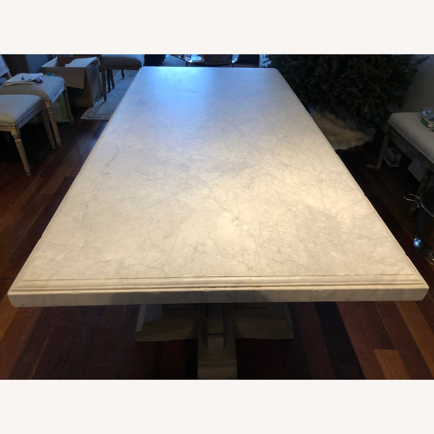 Restoration Hardware Oak & Marble Rect Dining Table - image-3