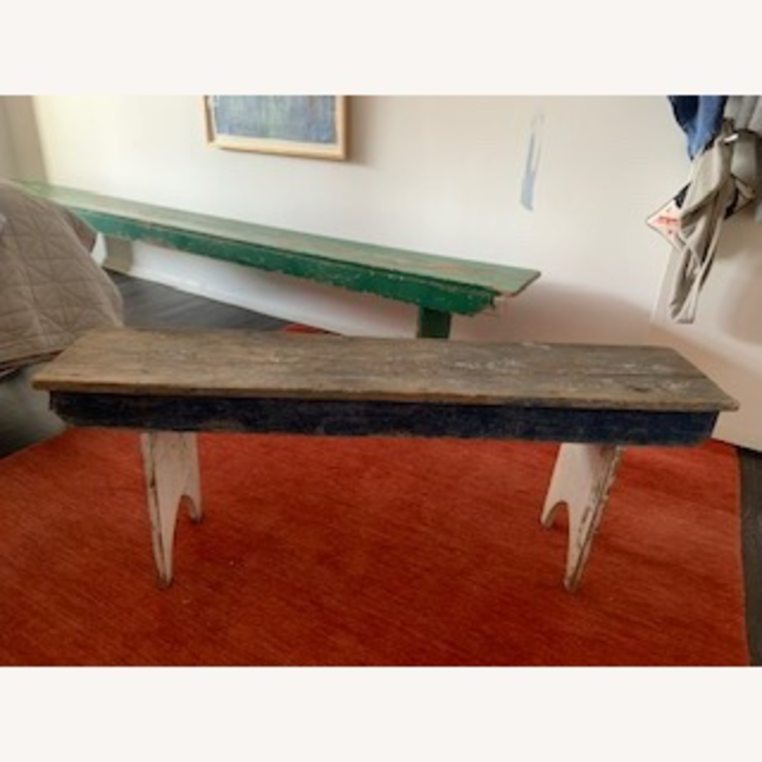 """51"""" Country Antique with beautiful blue patina bench"""