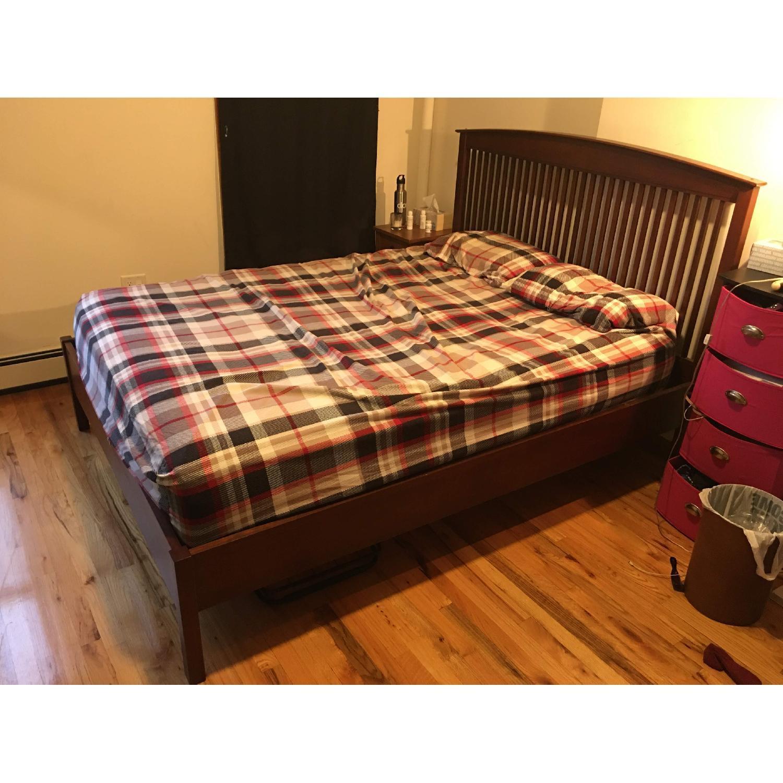Queen Bed with Wooden Headboard - image-0